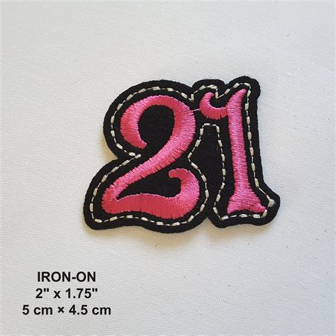 Pink White White Black Embroidery 21 number pink black embroidered iron on patch embroideries