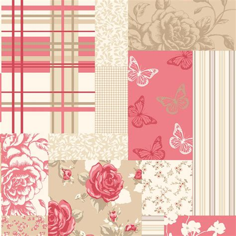 Wallpaper Patchwork - coloroll pollyanna patchwork floral wallpaper caramel