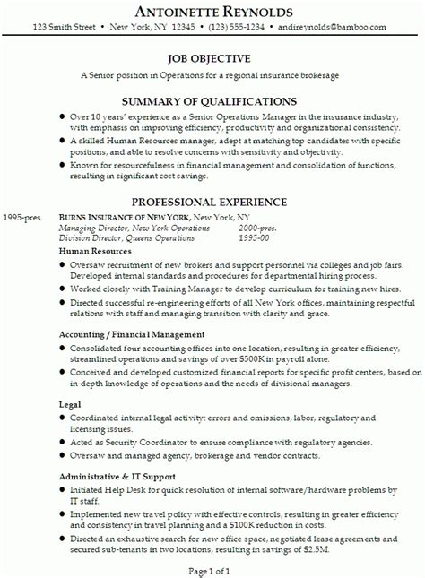 Example Of A Professional Resume resume for management position the best letter sample
