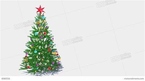 rotating decorated christmas tree  white background loop
