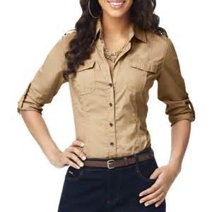 Draped Shirts Miss Tina Women S Convertible Sleeve Button Down Shirt