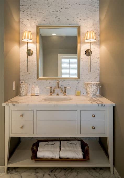 Guest Bathroom Designs Guest Bathroom Monogram Towels Better Decorating Bible Luxurious Marble Countertop Sconce