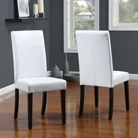 White Leather Parsons Dining Chairs Modus Seating Parsons Chairs In White Leatherette Set Of 2 2e0366