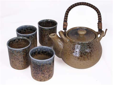 Kitchen Canisters Ceramic Sets pale blue and earthen crackled sand japanese tea set for four