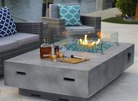 concrete decor rectangular modern concrete fire pit table w glass guard