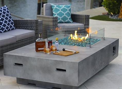 Rectangular Modern Concrete Fire Pit Table w/ Glass Guard