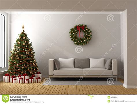 tree in living room living room with tree stock illustration image