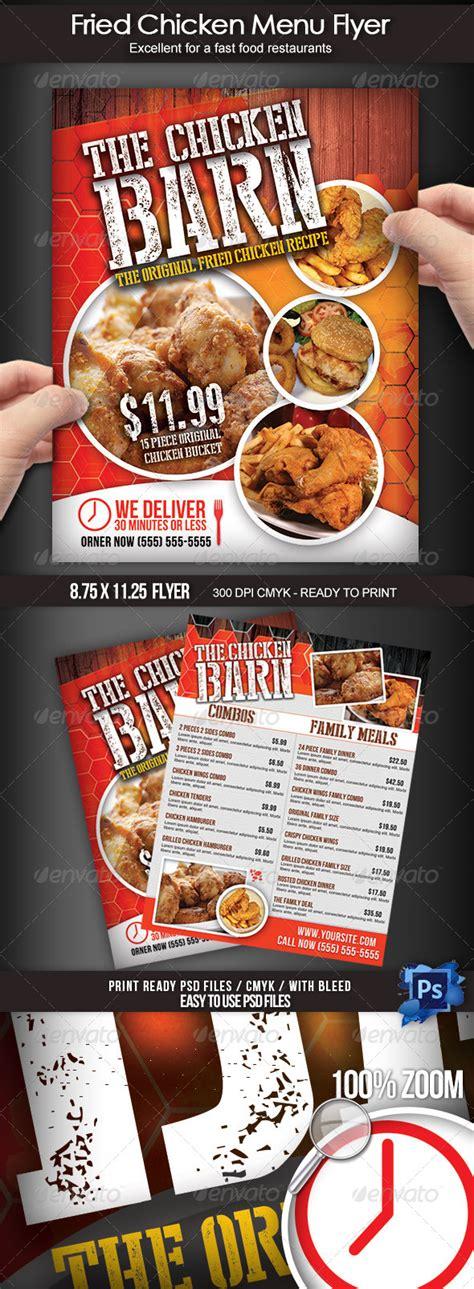 fried chicken menu flyer  boca graphicriver