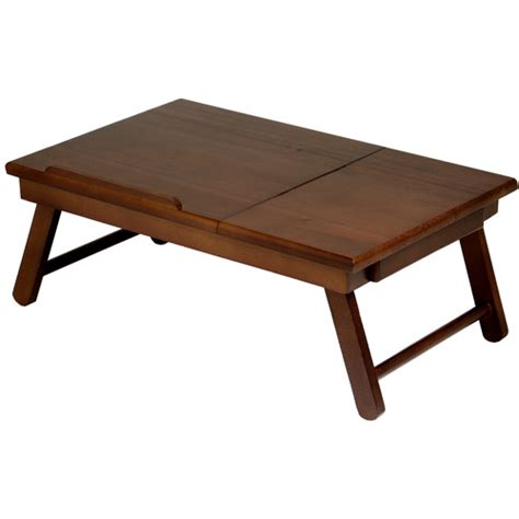 walmart bed table alden lap desk bed tray with drawer walnut walmart com