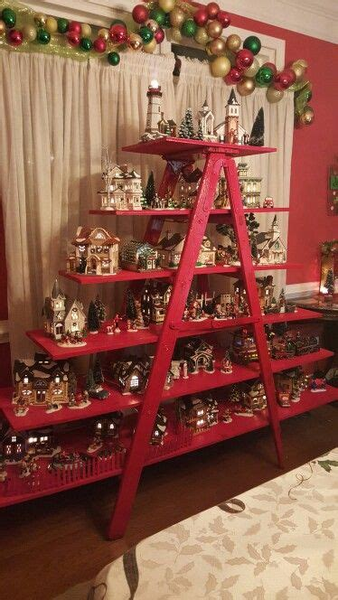christmas shelf display villages ladder and on