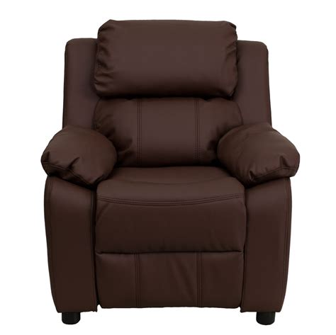 kids brown recliner deluxe heavily padded contemporary brown leather kids