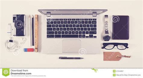 office desk items top view office desk with laptop stock photo image 57244667