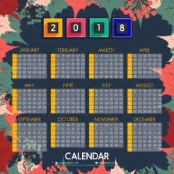 Calendar 2018 Background 2018 Calendar Background Colorful Leaves Fruit Decoration