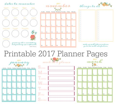 Printable Daily Planner Pages 2017 | free printable 2017 planner pages gluesticks