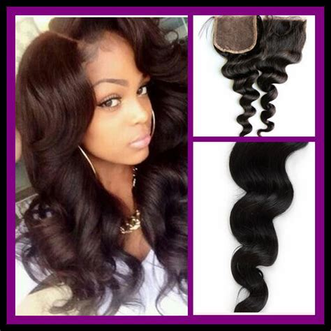 3 way part hairstyle free shipping brazillian hair loose wave lace closure