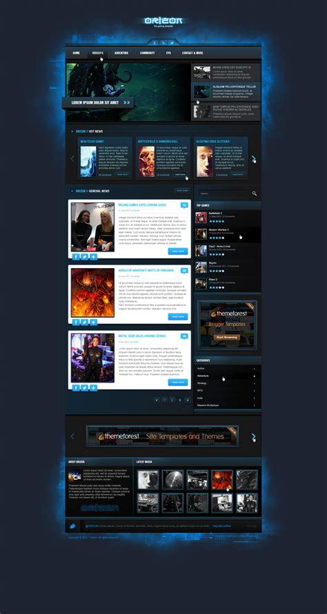best gaming templates best psd website templates 10