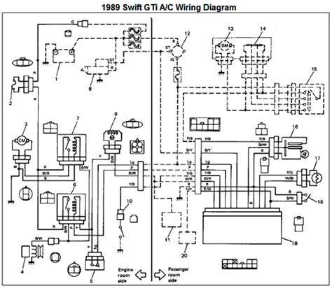 auto air conditioning service 1989 suzuki swift electronic valve timing 1989 suzuki swift gti air conditioner wiring diagram and electrical schematic