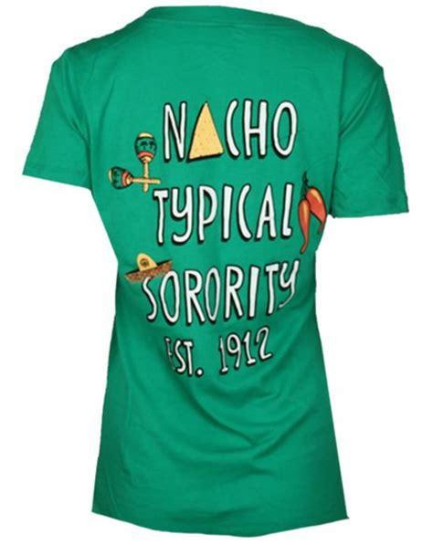 typical sorority theta phi alpha nacho typical sorority vneck tshirt by