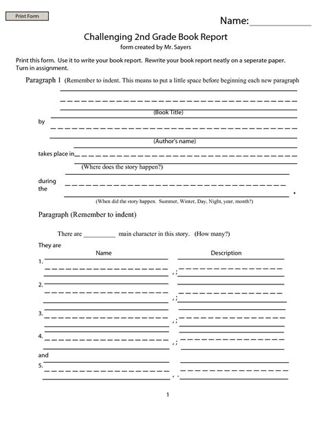 2nd grade book report template 2 professional and high