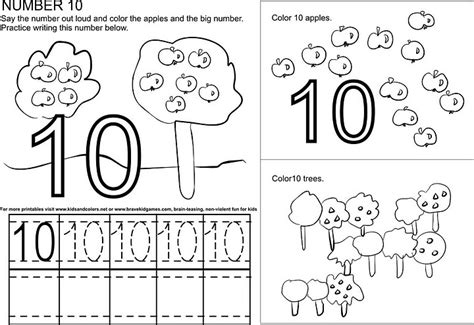 numbers tracing worksheets 10 for preschool printable coloring number worksheet crafts and worksheets for preschool
