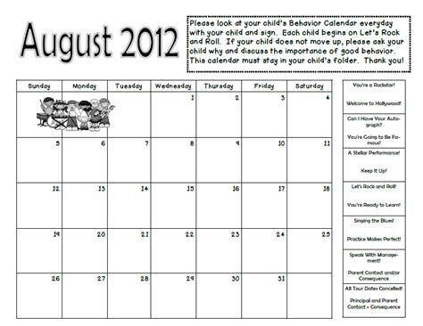 Behavior Calendar Grade 2 Happenings Rockin Behavior Take Home Calendar