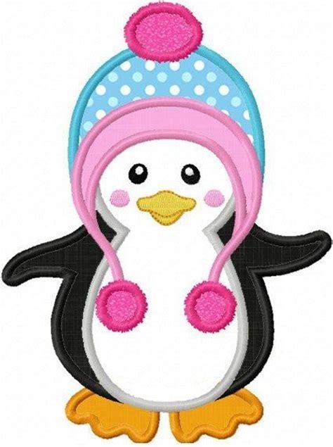 penguin applique machine embroidery design by