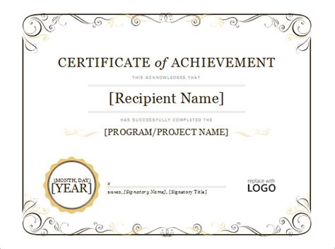 Certificate Of Achievement Template Word Word Certificate Template 49 Free Download Sles Exles Format Free Premium Templates