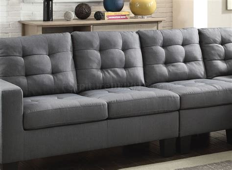 acme sectional sofa earsom sectional sofa 52760 in gray linen fabric by acme