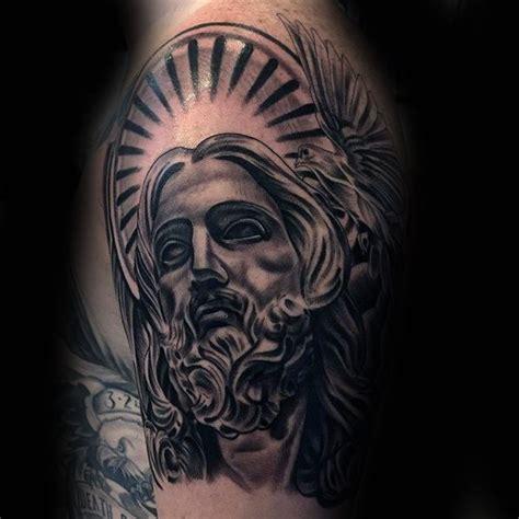 jesus tattoo on man s arm 60 jesus arm tattoo designs for men religious ink ideas
