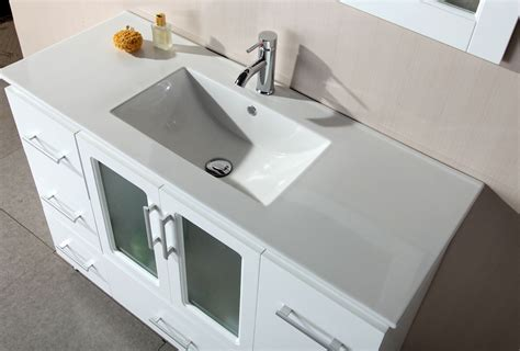48 Inch Bathroom Vanity White Avola 48 Inch Contemporary White Finish Bathroom Vanity Set