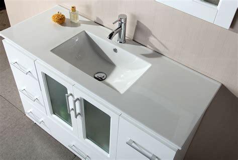 Avola 48 inch Contemporary White Finish Bathroom Vanity Set