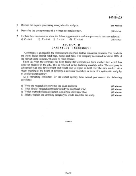 Major Field Test Mba Sle Questions by 2nd Semester Mba June 2015 Question Papers