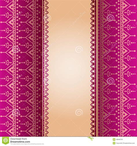 yellow indian pattern background pink henna pattern vertical banner stock vector