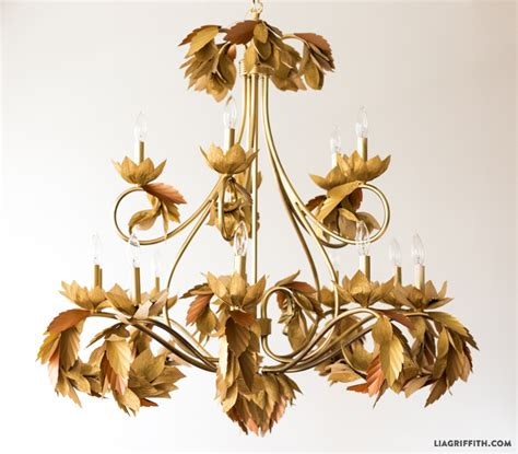 Diy Chandelier L Upcycled Paper Leaf Diy Chandelier Lia Griffith