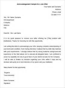 Acknowledgement Letter Sle For Offer 31 acknowledgement letter templates free sles
