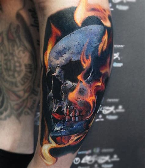 skull with flames tattoo www pixshark com images