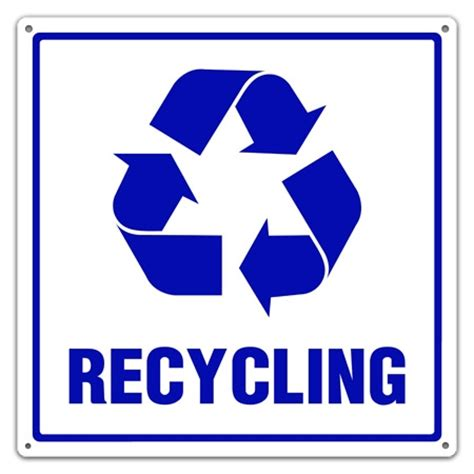 Exclusive Home Decor Items by Recycling Symbol And Text Sign Recycling Utility Sign