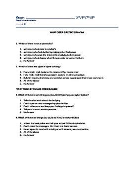 preguntas cerradas bullying cyber bullying pre test by becky shaffer live in
