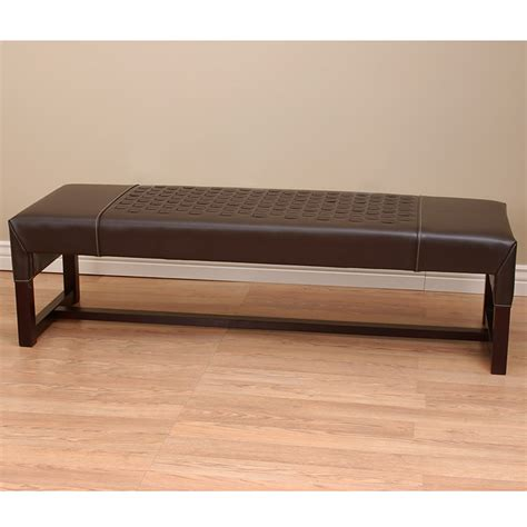 overstock leather bench woven leather bench dark brown overstock shopping