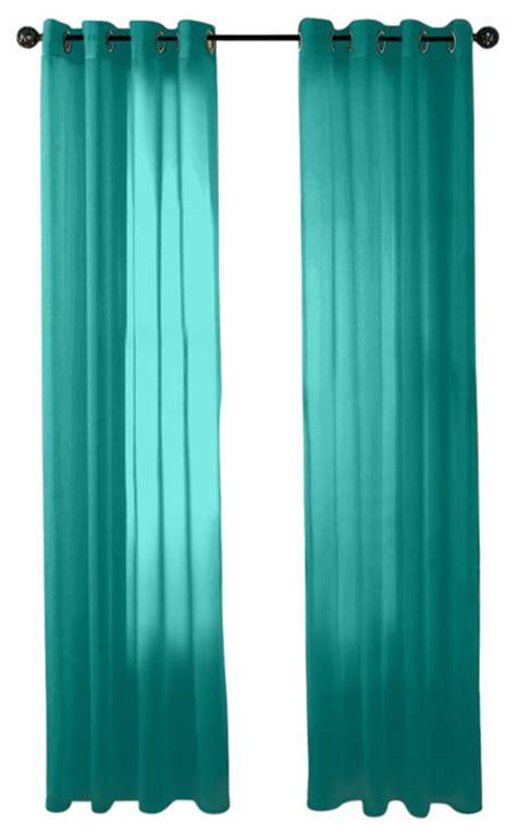 Hlc me 2 piece sheer window curtain grommet panels aqua blue teal traditional curtains
