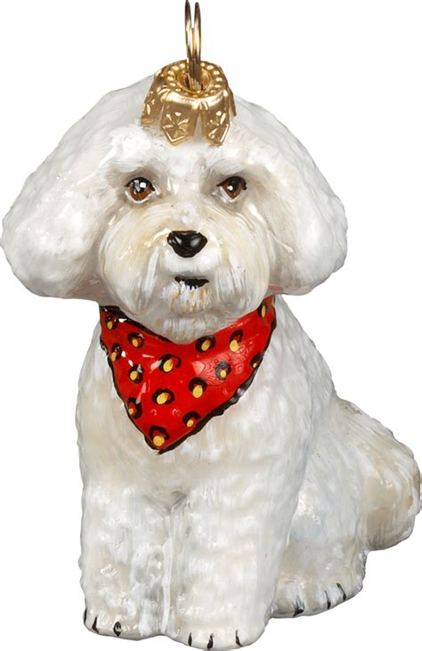 puppy ornament bichon frise puppy w bandana ornament