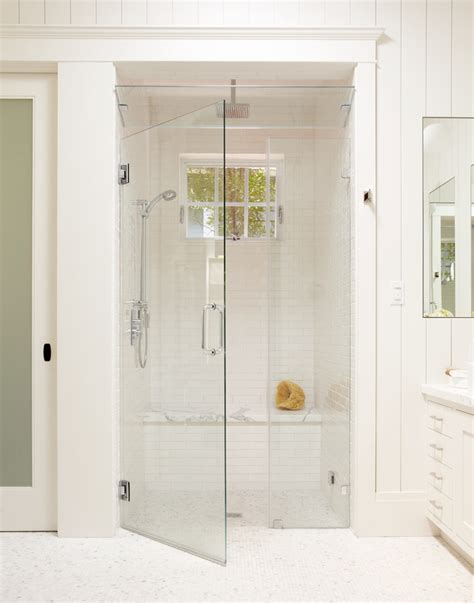 Shower Door And Window Walk In Shower Ideas No Door Bathroom Traditional With Baseboards Curbless Shower Frameless