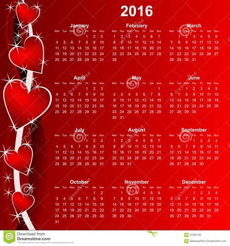 Calendrier Lundi Calendrier Lundi 2016 D Abord Illustration Stock Image