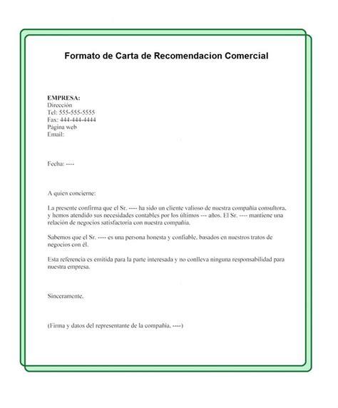 como se redacta una carta de referencia comercial formato de carta de recomendaci 243 n comercial