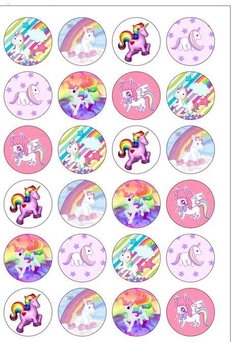 free printable unicorn cupcake toppers 24 precortada 40mm c 237 rculo unicornio arco iris oblea