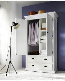 armoire penderie bois acajou blanc