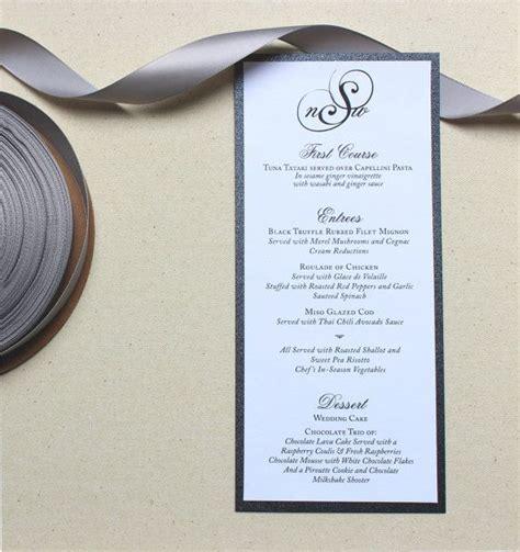 formal dinner menu ideas classic wedding menus black and white menus monogrammed modern wedding menu the natalie