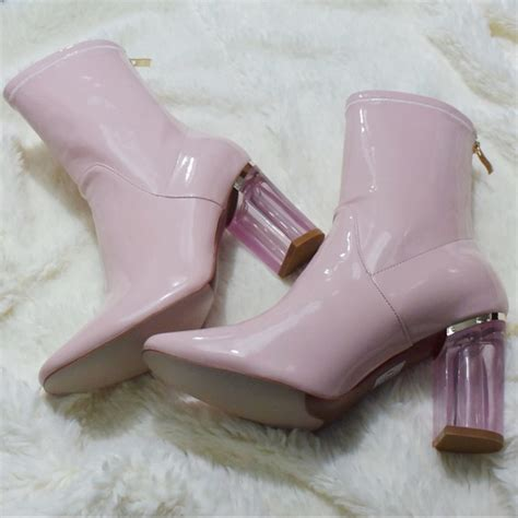 ego pink patent clear lucite heel ankle boots