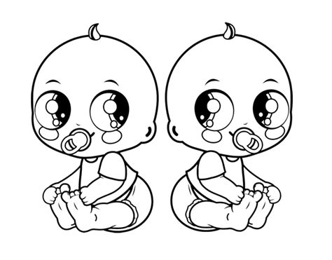 Twin Babies Coloring Page | free coloring pages of twin babies