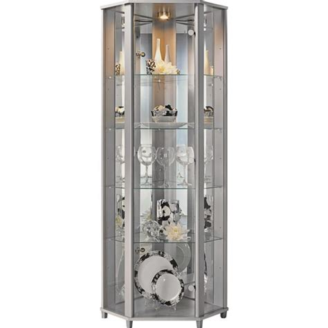 buy home corner glass display cabinet silver effect at